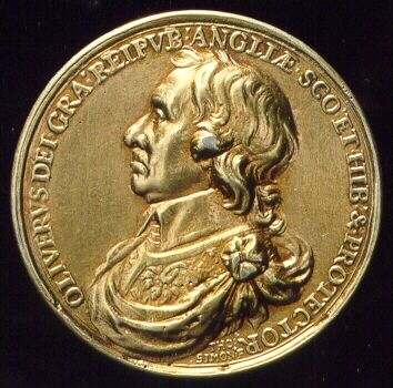 A medal issued when Oliver Cromwell was head of state 1653 - 1658.